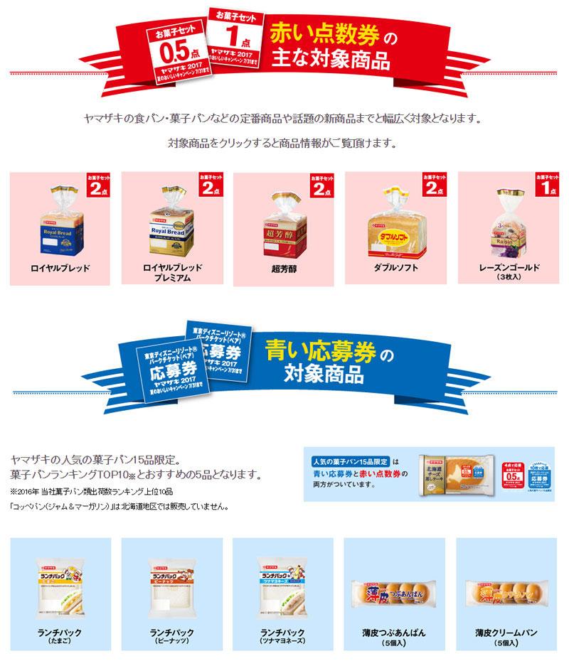 ヤマザキパン 2017夏の懸賞キャンペーン 赤い点数券 青い応募券対象商品