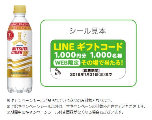 三ツ矢サイダーWダブル 2017懸賞キャンペーン対象商品