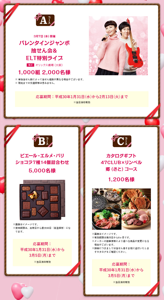バレンタインジャンボ宝くじキャンペーン2018 プレゼント懸賞品