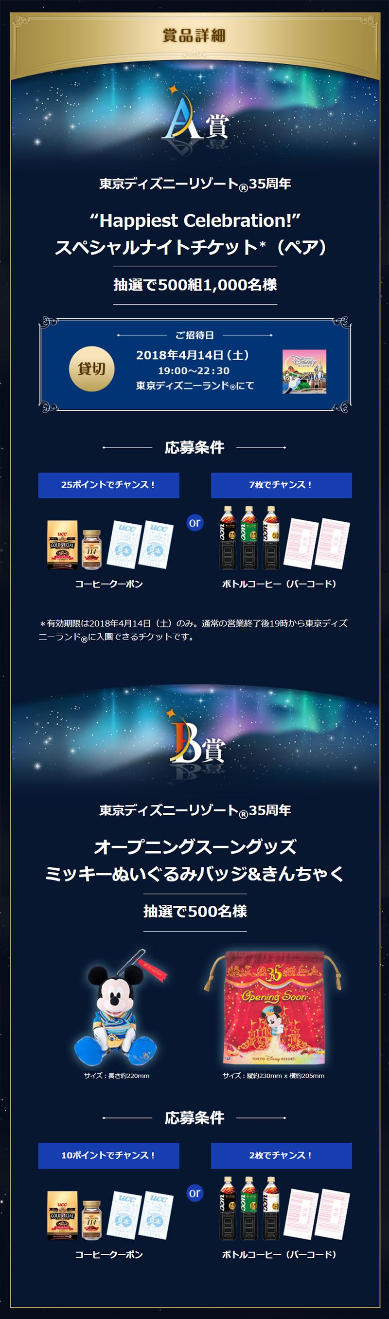 UCCコーヒー ディズニー懸賞キャンペーン2018春 プレゼント懸賞品