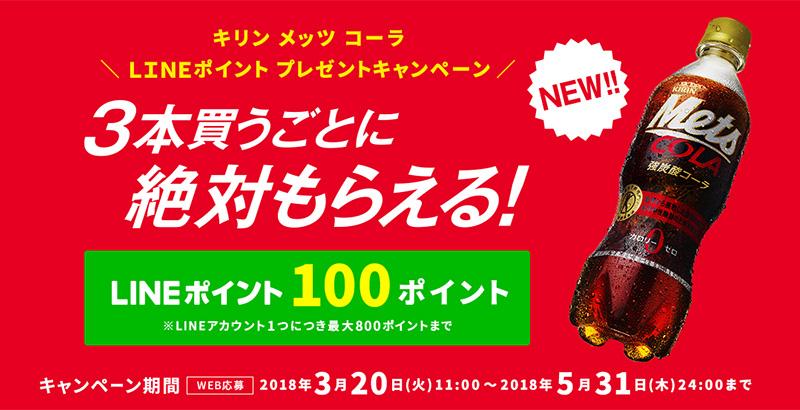 メッツコーラ 絶対もらえる懸賞キャンペーン2018春