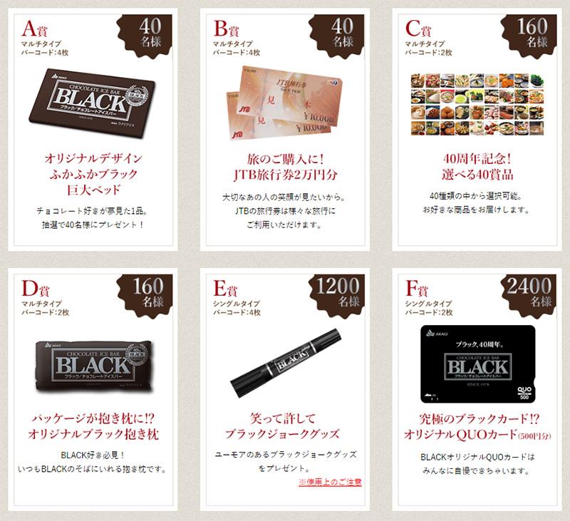 BLACK チョコアイスバー 40周年懸賞キャンペーン プレゼント懸賞品