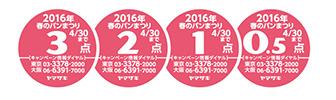 ヤマザキ春のパンまつり2016 応募シール