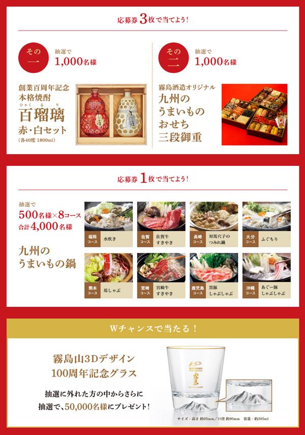 霧島酒造100周年記念キャンペーン賞品