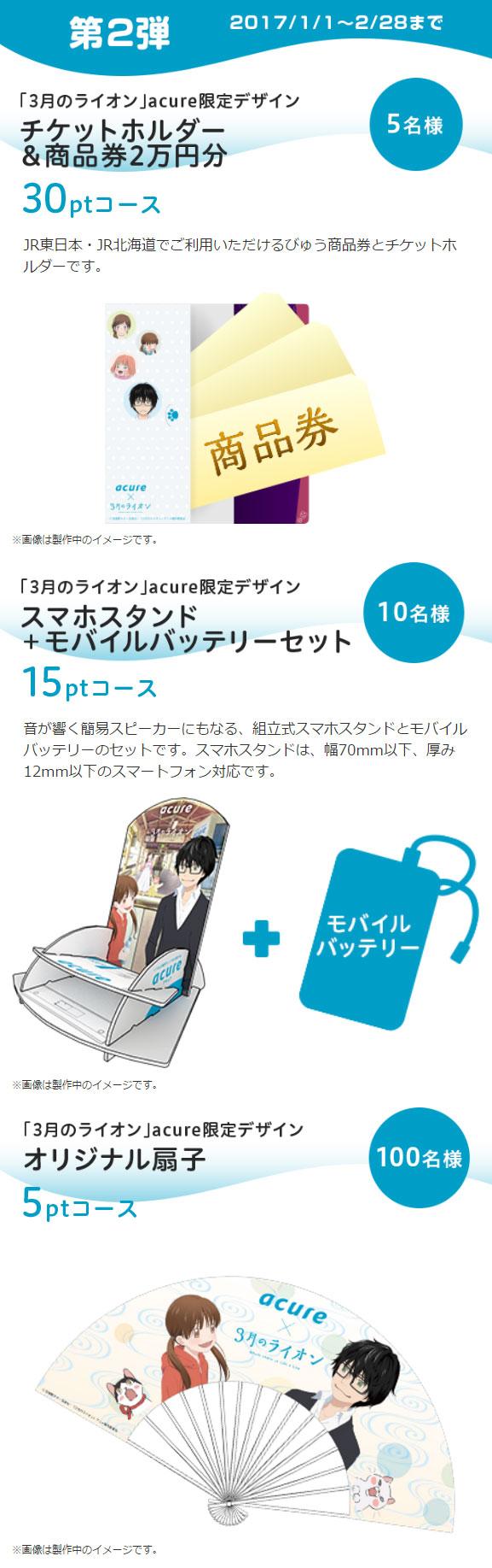 acure アキュア 3月のライオンキャンペーン賞品