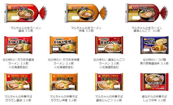 マルちゃん生ラーメン ボイスレシピ3キャンペーン対象商品