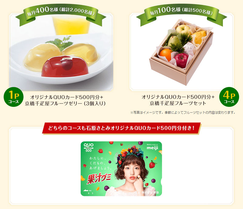 明治 果汁グミ 2017年 石原さとみ懸賞キャンペーンプレゼント懸賞品