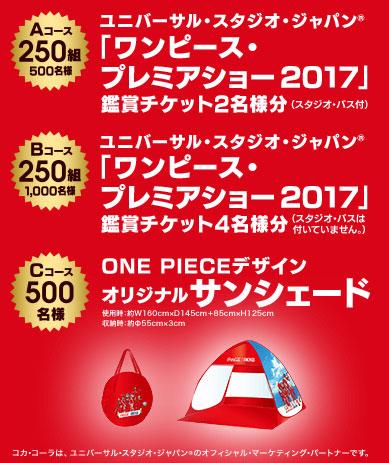 コカコーラ 2017春ワンピース懸賞キャンペーン懸賞品
