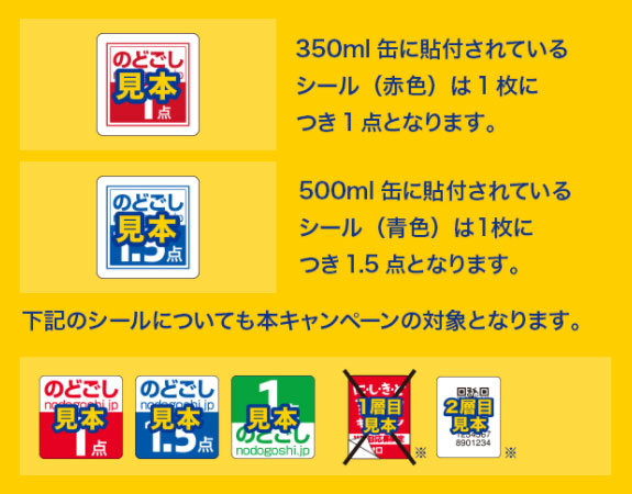 のどごし生 2017夏の懸賞キャンペーン応募シール