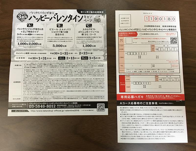 バレンタインジャンボ宝くじキャンペーン2018 専用応募ハガキ裏