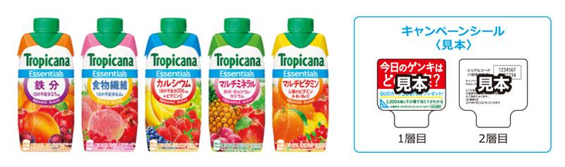 トロピカーナエッセンシャルズ 懸賞キャンペーン2018春 対象商品
