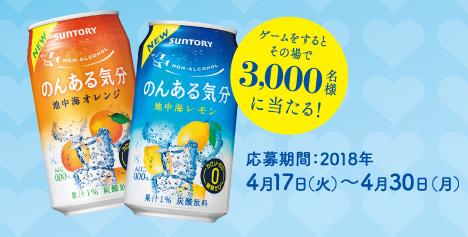 のんある気分 無料懸賞キャンペーン2018春 プレゼント懸賞品