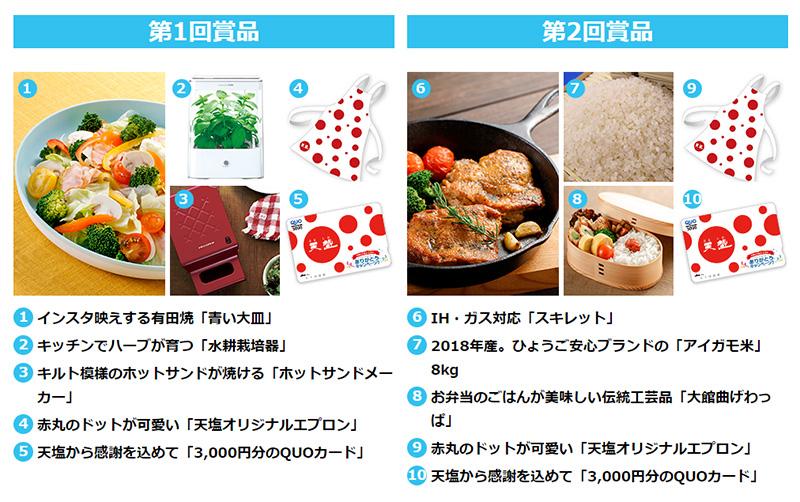 あましお 天塩 45周年懸賞キャンペーン2018 プレゼント懸賞品