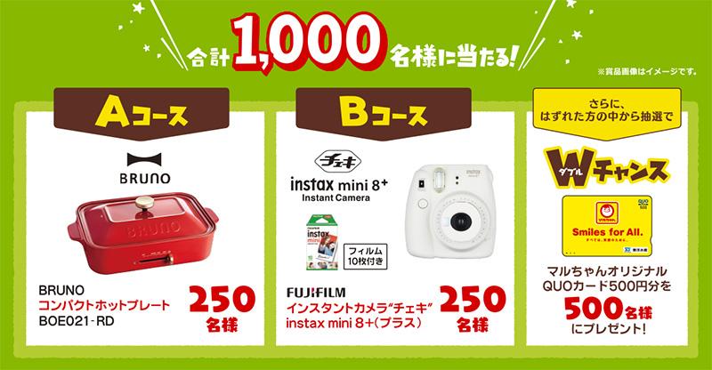 マルちゃん 焼そば ビンゴ懸賞キャンペーン2018夏 プレゼント懸賞品