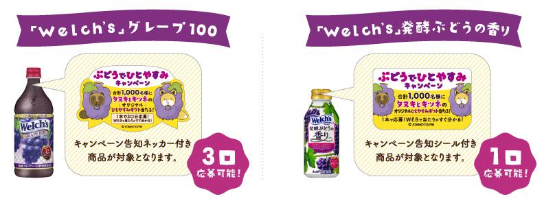 ウェルチ タヌキとキツネ懸賞キャンペーン2018夏秋 対象商品