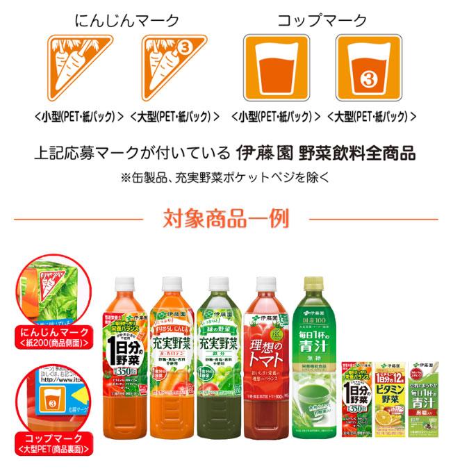 伊藤園 野菜飲料 ちびまる子ちゃん 絶対もらえるキャンペーン2018 対象商品・応募マーク