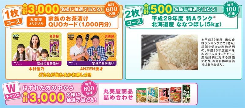 丸美屋お茶漬け 懸賞キャンペーン2018~19 プレゼント懸賞品