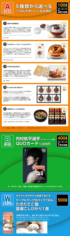 テーブルマーク銘柄米パックごはん懸賞キャンペーン2018 プレゼント懸賞品