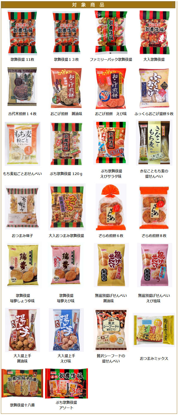 歌舞伎揚 懸賞キャンペーン2019 対象商品