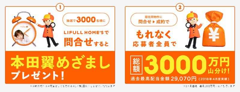 ライフルホームズ 本田翼キャンペーン2019 プレゼント懸賞品