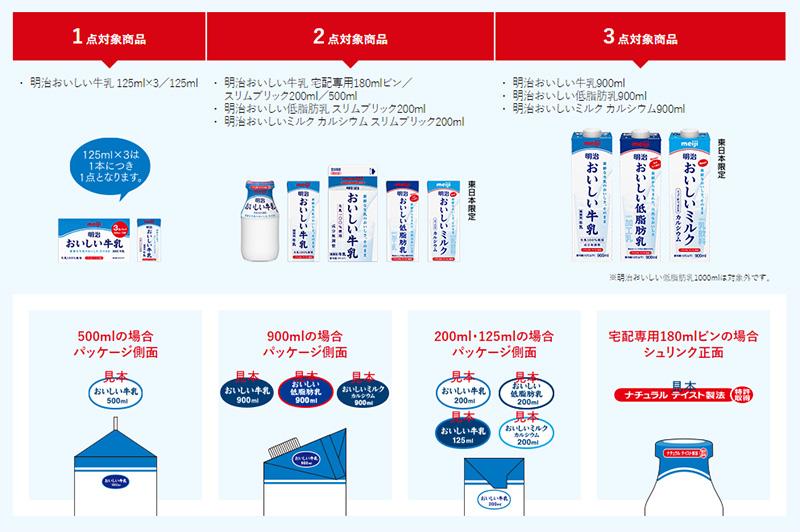 おいしい牛乳 懸賞キャンペーン2019春夏 対象商品