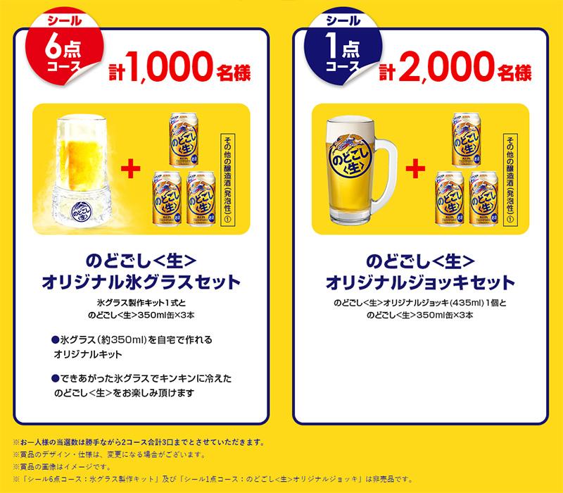 のどごし生 氷グラス ジョッキ懸賞キャンペーン2019夏 プレゼント懸賞品