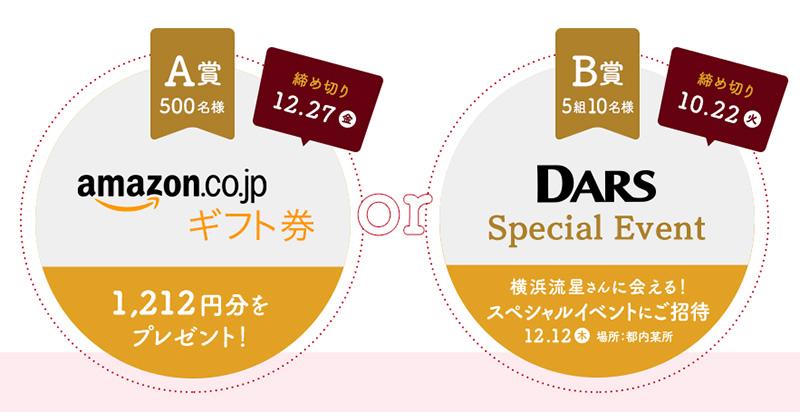 ダース DARS 横浜流星 懸賞キャンペーン2019秋冬 プレゼント懸賞品