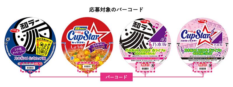 カップスター 乃木坂46ライブ懸賞キャンペーン2019 バーコード位置参考画像