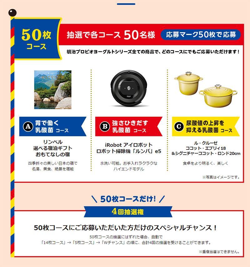R1 LG21 PA3 明治プロビオヨーグルト懸賞キャンペーン2019~2020 プレゼント懸賞品 50枚コース