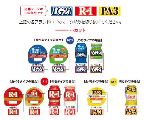 R1 LG21 PA3 明治プロビオヨーグルト懸賞キャンペーン2019~2020 応募マーク参考画像