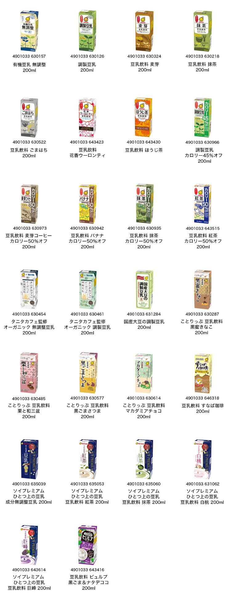 マルサン豆乳 懸賞キャンペーン2019~2020 バーコード1枚1点分の対象商品