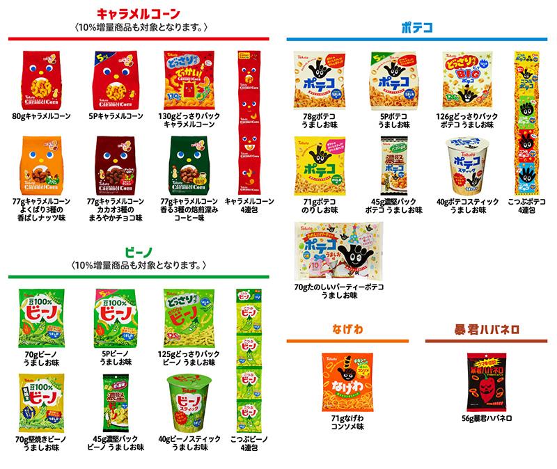 キャラメルコーン ビーノ ポテコ懸賞キャンペーン2019 対象商品