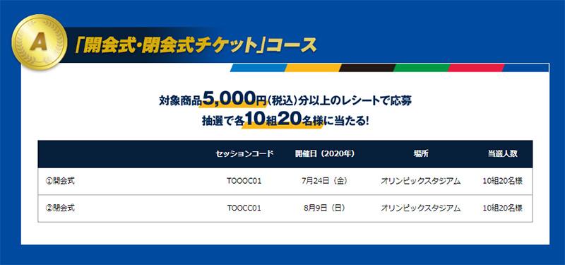 明治 東京2020オリンピックチケット懸賞キャンペーン 東京2020オリンピック 開会式・閉会式チケット コース