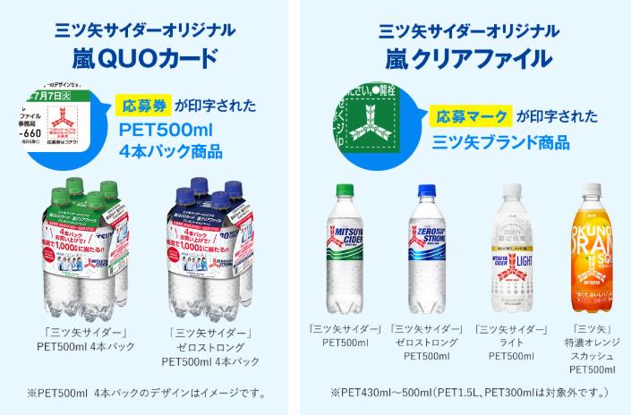 三ツ矢サイダー 嵐 懸賞キャンペーン2020夏 対象商品
