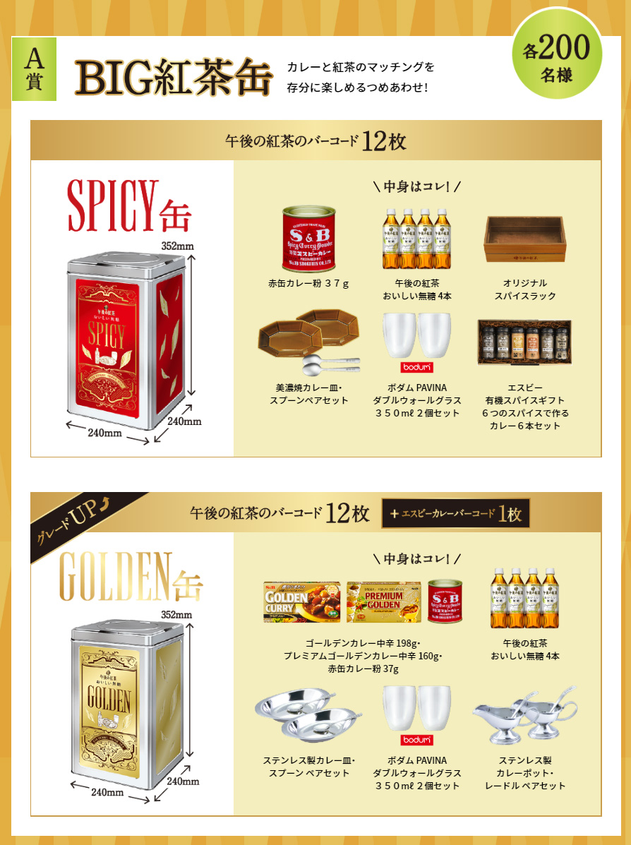 午後の紅茶 エスビーカレー懸賞キャンペーン2020夏 プレゼント懸賞品 BIG紅茶缶