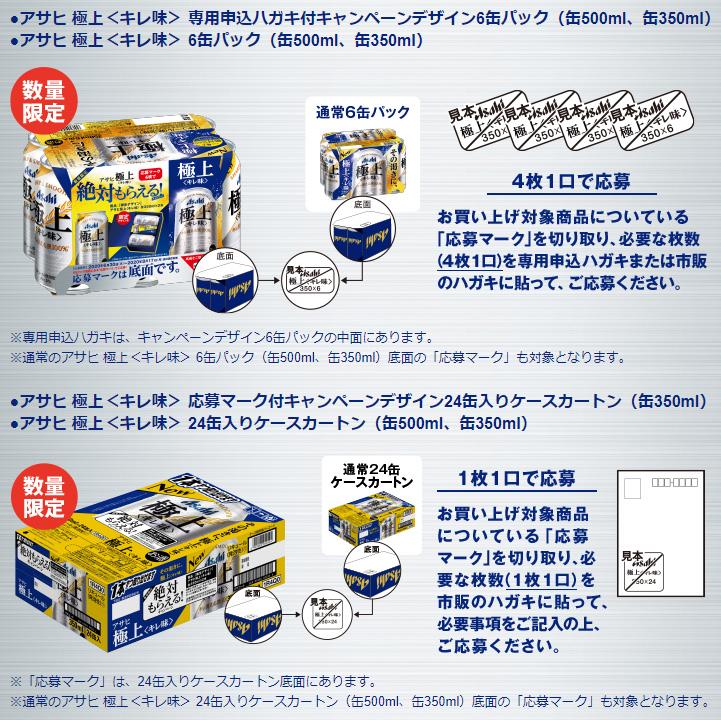 アサヒ 極上キレ味 絶対もらえるキャンペーン2020夏 対象商品