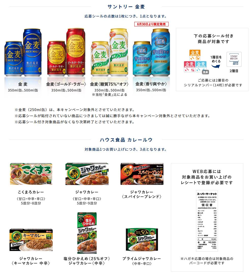 金麦 ハウス食品 絶対もらえるキャンペーン2020夏 対象商品