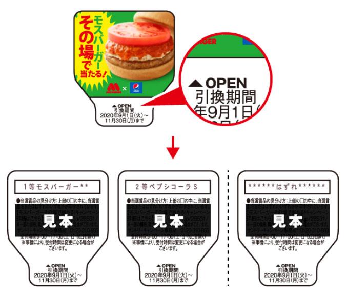 ペプシコーラ モスバーガー懸賞キャンペーン2020秋 アタリシール見本