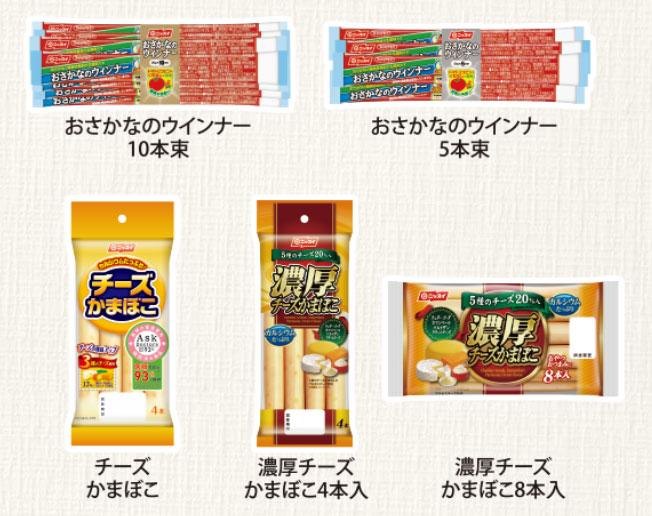 ニッスイ おさかなのウインナー懸賞キャンペーン2020冬 対象商品