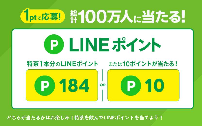 特茶 LINE懸賞キャンペーン2021 プレゼント懸賞品 1ポイント応募
