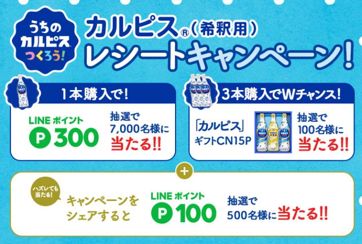 カルピス LINE懸賞キャンペーン2021春 プレゼント懸賞品