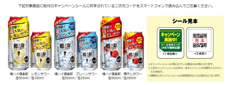 アサヒ 樽ハイ倶楽部 金のタンブラー 懸賞キャンペーン2021春 対象商品