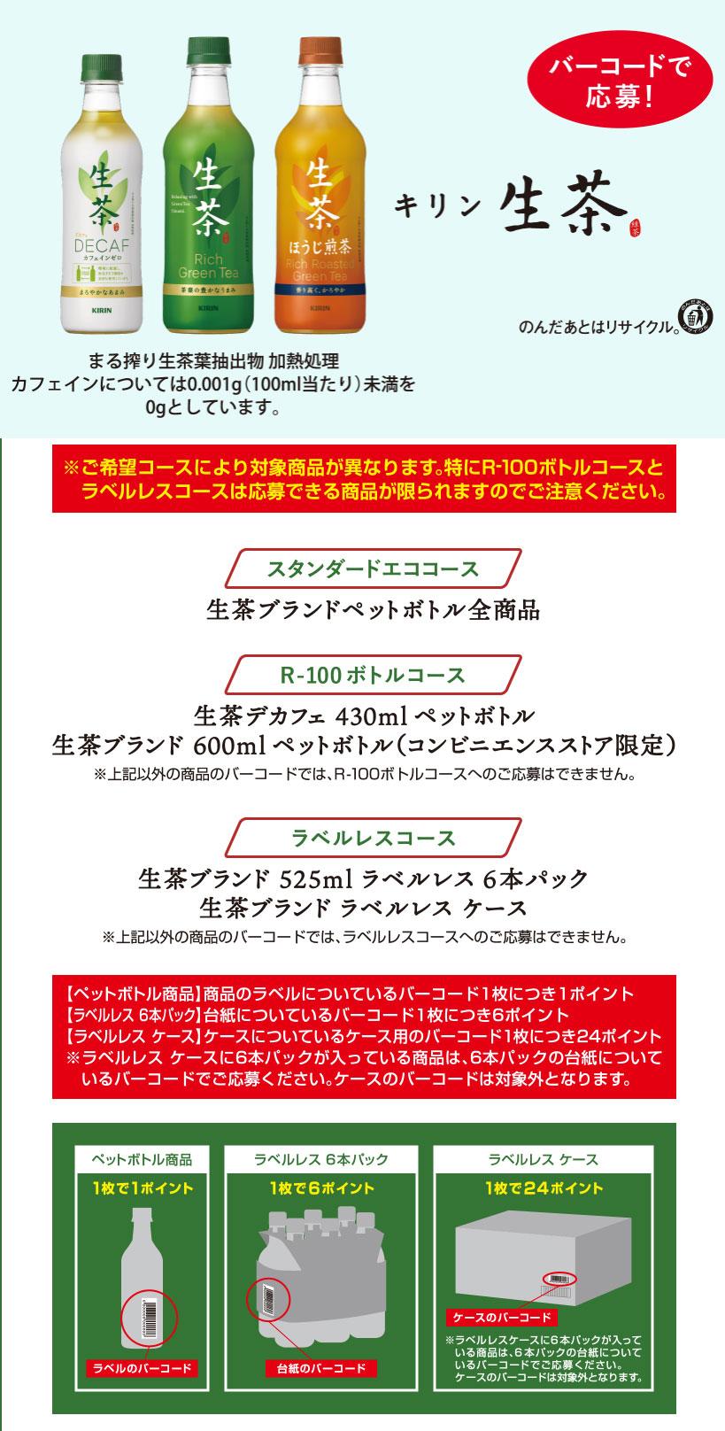 キリン生茶 エコ懸賞キャンペーン2021 対象商品