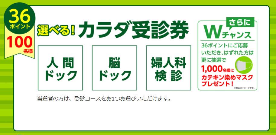 伊藤園 お~いお茶 濃い茶 懸賞キャンペーン2021秋 プレゼント懸賞品 カラダ受診券